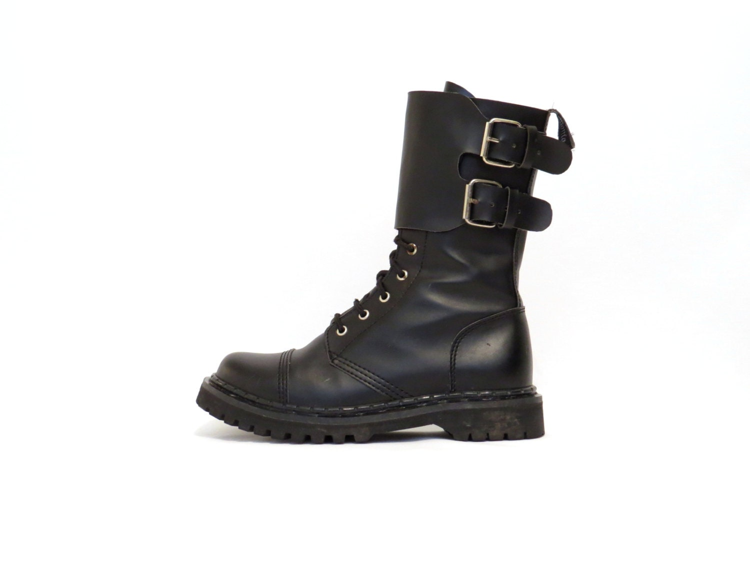 black leather combat boot demonia calf boot buckle