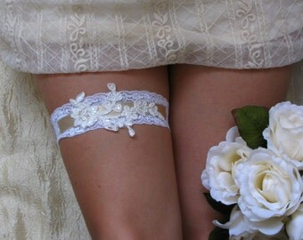 LORA Style- SALE- White Lace Wedding Garter, Bridal lace garter, Wedding lace garter, Lace bridal garter, White lace garter, White garter