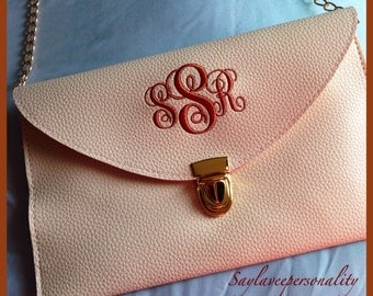 Monogrammed leather clutch purse with custom initials