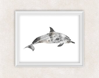 Dolphin Watercolor Art Print in Gray, Black - Porpoise Sea Life - Home Decor - Wall Art 8x10 PRINT - Item #712B