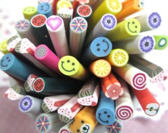 Assorted Polymer Clay Canes Shapes, Fruit, Sweets and More!