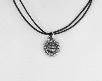 Sunflower Choker Necklace on Adjustable Black Cord