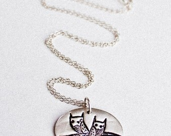 Twin Owls Necklace - Twin Necklace Twin Jewelry - Mother of Twins Jewelry necklace mother of twins necklace sterling silver mother necklace