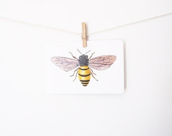 Honey Bee Art Postcard - watercolor, botanical, gouache, painting, nature