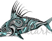 Roosterfish Zentangle Laminated 3M Vinyl Decal