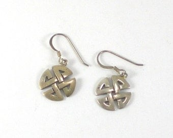 Celtic Cross Earrings  -  Sterling Silver  Small Pierced - Vintage Jewelry - Accessories For Women - Dangle Drop Earrings