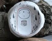 Beach Pottery Jizo Bodhisattva Icon - Jizo holding a Bowl, Plants, Rain