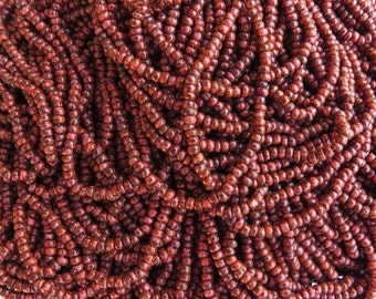 10/0 Opaque Coral Picasso Czech Glass Seed Beads - 12 Strand Mini Hank (DW152)