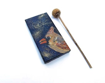 Cardinal Miniature Painting Original Bird Portrait on Mini Canvas Contemporary Fine Art Wildlife Nature Tiny Art with Easel Ready to Ship