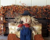 PriMiTiVe Folk Art Fall Harvest Scarecrow Art Doll & His Pumpkin Patch Crow Gathering Set  ofg hafair ab4b