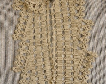 Floral Ladder - Camel - Crochet Merino Lace Scarf
