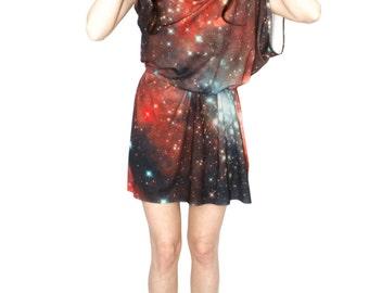 Crimson Galaxy Jersey Dress