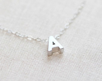 Tiny Silver Initial Necklace A-Z Personalized Necklace