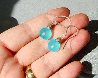 Blue Beach Earrings, Blue Chalcedony Earrings,  Briolette Gemstone Earrings, Silver Earrings, Beach Jewelry, Mermaid Jewels, Beach Babe