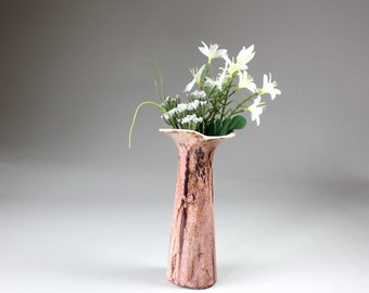 Vintage Ceramic Art Pottery Vase Organic Petal Design Mauve Pink Brown