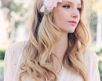 petals pink rose floral crown, bridal flower hair crown, woodland wedding, pale pink flower, milinery flower