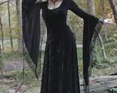 Sorrena Fairy Tale Dark Romantic Gothic Dress - Handmade Long Velvet Dress - Morticia Addams Vampire Wiccan Handfasting Dress