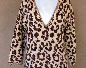 "Vintage 80's - Animal Print 100% Cotton ""V"" Neck Sweater"