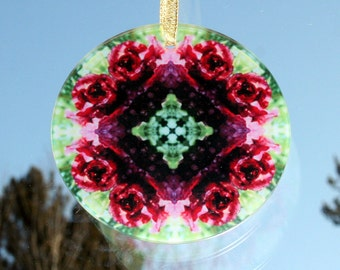 Red Rose Glass Suncatcher Mandala Boho Chic New Age Sacred Geometry Hippie Kaleidoscope Chakra Gypsy Mod Unique Gift For Her Frostbitten