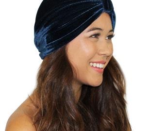 Navy Velvet Turban / Velvet Fashion Turban / Velvet Head Wrap / Kristin Perry