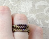 Natural Beaded Band Ring in Light Sand and Maroon Matte Beads