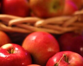 FALL APPLES Food Photography- Fruit Rustic Autumn Kitchen Decor Food Still Life Dark red golden harvest photo