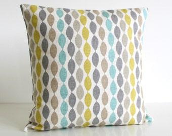 cotton pillow cover, Decorative Pillow Cover, 16x16 Inch Cushion Cover, 16 Inch Pillow Sham - Gemstone Aqua