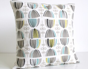 Pillow Cover, Decorative Pillow Cover, 18x18 Pillow Sham, 18 Inch Pillowcase, Throw Pillow Cover, Cushion Cover - Hourglass Aqua