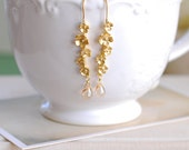 Gold Twig Earrings, Matte Gold Branch Twig Flowers Blossom Dangle Earrings, Champagne Teardrop Glass Earrings, Botanical Jewelry