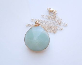 Mint Chalcedony Pendant Necklace