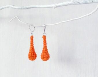 Earrings Orange Dangle Maracas Earrings, Handmade Fashion Jewelry, stylish fancy colorful ear jewelry, original gift, many colors available