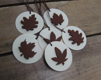 Fall Leaf Gift Tags, Set of 6, Felt Leaf Gift Tag, Brown Leaf, Primitive Gift Tags, Thanksgiving, Fall Leaves, Brown Beige, Hostess Gift