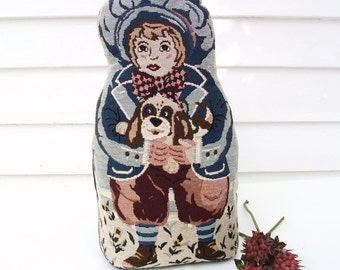 Vintage Door Stop / Fabric Doorstop / Boy Dog, Door Stopper, Nursery Decor, Boys Room