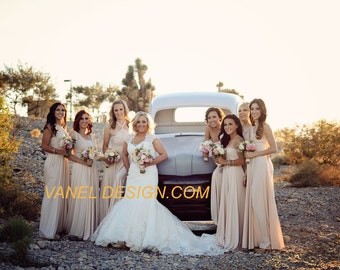 Bridesmaids Dress, Convertible Bridesmaid Dress, Infinity Dress, Wrap Dress, One Dress Endless Styles, Ivory, Cream, Champagne