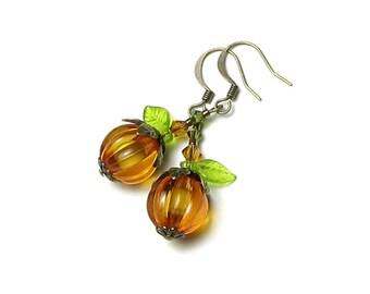 Pumpkin Earrings, Halloween Earrings, Antique Brass, Orange Pumpkin Earrings, Autumn Leaf Earrings, Pumpkin Jewelry, Fall Jewelry, Halloween