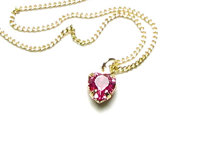 Tiny Pink Swarovski Crystal Heart Drop Necklace, Girl's Pendant Simple Dainty Delicate Gold Jewelry, Romantic Valentine's Day Gift For Women
