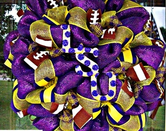 New Purple Deco Mesh LSU Wreath with glitter letters