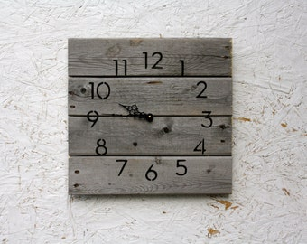 Modern yet Rustic, gray wood.  natural. reclaimed wood wall clock.  Farmhouse style...gift.  Gray pallet wood.
