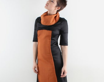 Tailored black orange dress, Turtleneck mini Dress, Cotton sleeve dress, Upholstery dress, Long sleeve cotton dress, Vegan dress, size:S-L
