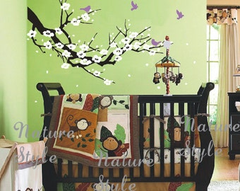 cherry blossom wall decal birds decals flower vinyl wall decals branch wall mural nursery wall decal-Cherry Blossom Branch with Flying Birds