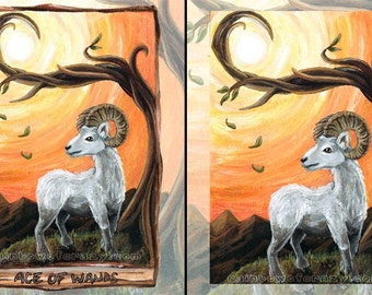 Ram Print, Sheep Art, Ace of Wands Tarot Card, Farm Animal Lover Gift, Bedroom Decor, Aries Zodiac Sign, Animism Tarot Deck, Sun Print