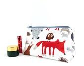 Large Makeup Bag Cute Animal Print Fabric Kids Wash Bag