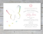 """FIRST Communion Invitation - Personalized - 7""""x5"""" - Print Your Own - DIY - Butterfly Rainbow"""