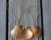 Seashell ornaments-  3 Christmas ornaments - holidays - gold ornaments -  decorations- sea shell, beach, coastal