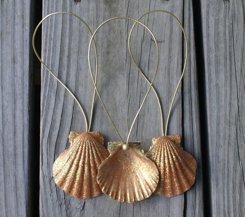 Seashell Ornaments 3 Christmas Ornaments Holidays Gold