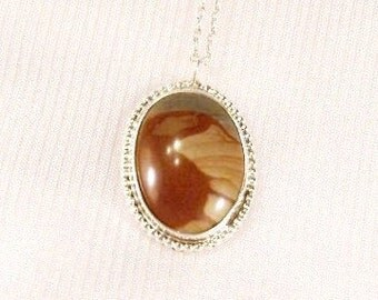 Vintage Sterling Silver Pendant: Picture Agate with 20 inch chain  -  i1012