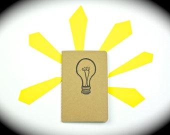 Light Bulb Journal, small journal with inner pocket - Travel Journal - notebook