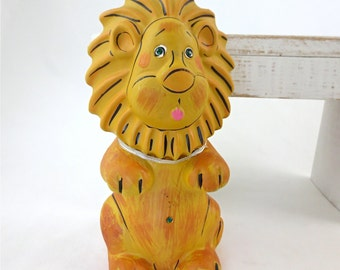 Coin Bank Lion Chalkware Mid Century Era Made in Japan Penny Bank Lion Figurine