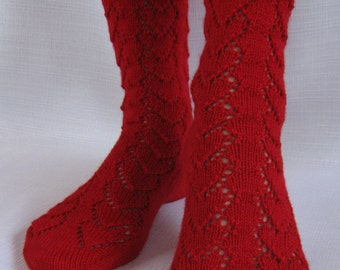 Lace Hearts Knit Socks Pattern - HEARTS FOREVER Socks Knitting Pattern PDF - Instant Download
