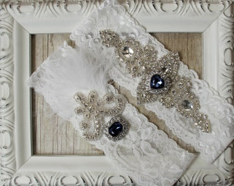 Wedding garter - Customizable Vintage Garter Set w/Sapphires and Rhinestones on Comfortable Lace, Wedding Garter Set, Crystal Garter Set